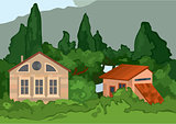 Cartoon village houses with trees