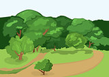 Cartoon village road and green trees