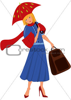 Cartoon woman in blue coat with red umbrella