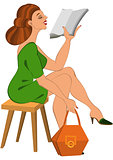 Cartoon woman in green dress and orange bag reading