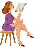 Cartoon woman in green dress reading