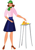 Cartoon woman in green hat offering cheese samples