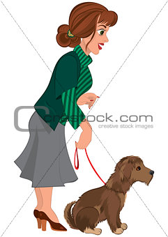 Cartoon woman in green striped sweater and dog on the leash