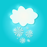 White  Paper Cloud Sign with  Snowflakes