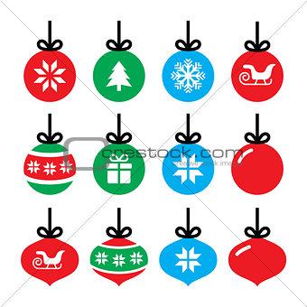 Christmas ball, Christmas bauble vector icons set