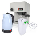 Coffee machine, kettle and blender