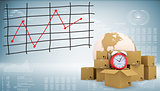 Earth, alarm clock, cardboard boxes with graph of price changes