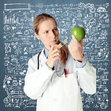 scientist woman with apple
