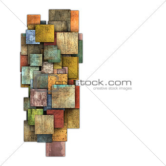fragmented multiple color square tile grunge pattern shape