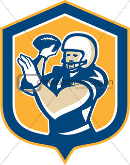 American Football QB Throwing Shield Retro