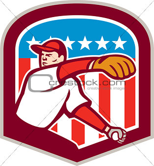 American Baseball Pitcher Throw Ball Shield Cartoon