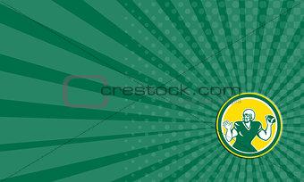 Business card American Football Quarterback QB Circle Retro
