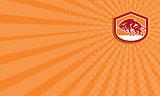 Business card European Bison Charging Shield Retro
