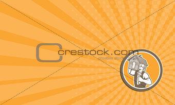 Business card Builder Carpenter Carrying House Hammer Retro