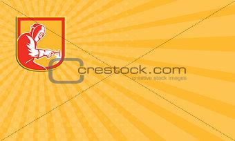 Business card Welder Holding Welding Torch Shield Retro