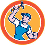 Builder Carpenter Holding Hammer Circle Cartoon