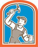 Builder Carpenter Holding Hammer Shield Cartoon