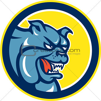 Angry Bulldog Mongrel Head Circle Cartoon