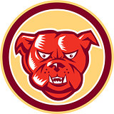Angry Bulldog Mongrel Head Circle Retro