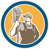 Janitor Cleaner Holding Mop Circle Retro