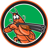 Crayfish Lobster Aiming Shotgun Circle Cartoon