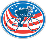Cyclist Riding Mountain Bike American Flag Oval