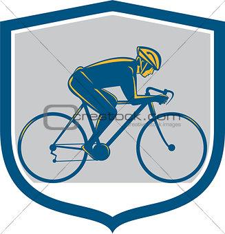 Cyclist Riding Mountain Bike Shield Retro