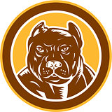 Pitbull Dog Mongrel Head Circle Woodcut