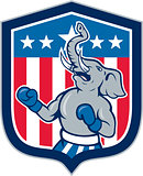 Republican Elephant Boxer Mascot Shield Cartoon
