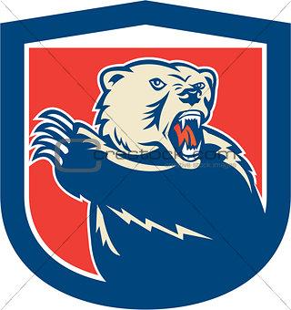 Grizzly Bear Swiping Paw Shield Retro