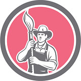 House Painter Holding Paintbrush Circle Retro