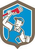 Plumber Holding Monkey Wrench Shield Cartoon