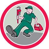 Plumber Monkey Wrench Toolbox Circle Cartoon
