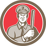 Policeman With Night Stick Baton Circle Retro