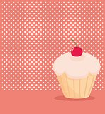 Cherry vector cupcake on white polka dots pink background