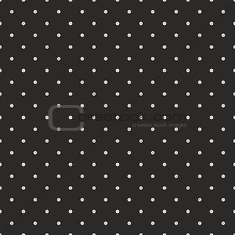 Tile vector pattern with grey polka dots on black background