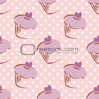 Tile vector pattern with polka dots and cupcakes