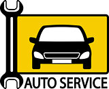 autoservice sign with car and wrench