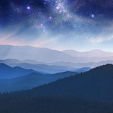 Night landscape in the mountain with stars