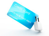 Credit Card and lock.safe banking concept on white background