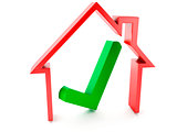house and check mark on white background
