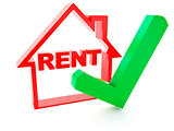 rent house and check mark on white background