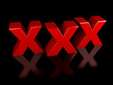 xxx icon on black background