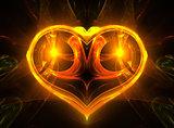 Glowing yellow heart