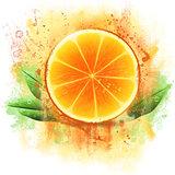 Grunge orange half