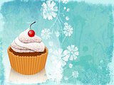 Retro card with cupcake