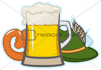 A glass of beer, hat with feather and sausage