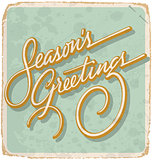 SEASON'S GREETINGS hand lettered vintage card (vector)