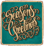 SEASON'S GREETINGS hand lettered vintage card (vector)