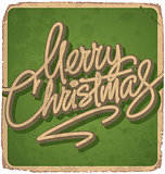 MERRY CHRISTMAS hand lettered vintage card (vector)